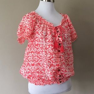 Small Pullover Top Ann Taylor Short Sleeves Cotton